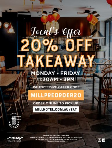 20% Off Takeaway Discount Code - The Mill Hotel