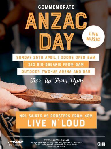 Commemorate Anzac Day - The Mill Hotel