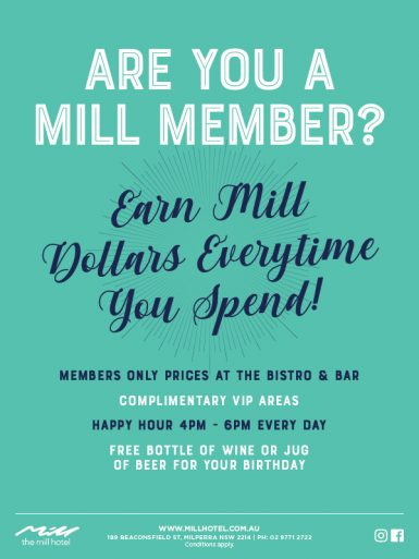 Are You A Mill Member Banner - The Mill Hotel