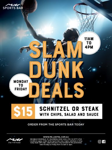 Schnitzel or Steak Special - Slam Dunk Deals - The Mill Hotel
