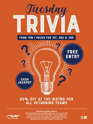 Tuesday Trivia Night - The Mill Hotel