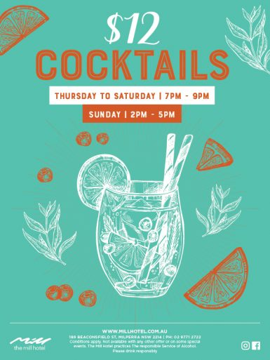 Weekly $12 Cocktail Special - The Mill Hotel