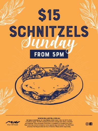 Sunday $15 Schnitzel Special - The Mill Hotel