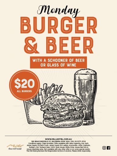 Monday Burger & Beer Special - The Mill Hotel