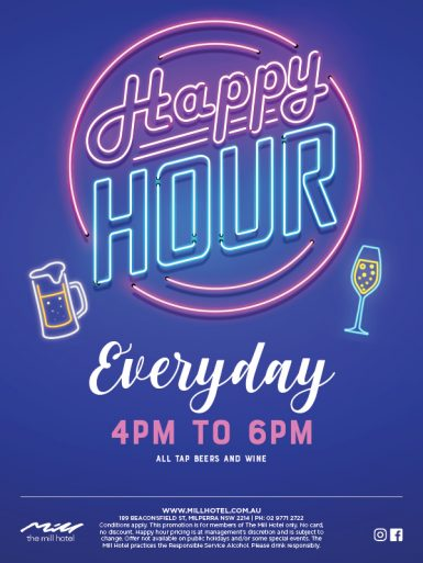 Happy Hour Everyday 4pm-6pm - The Mill Hotel